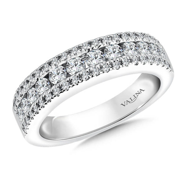 14K White Gold 0.94ct Diamond Wedding Band - Anniversary Band