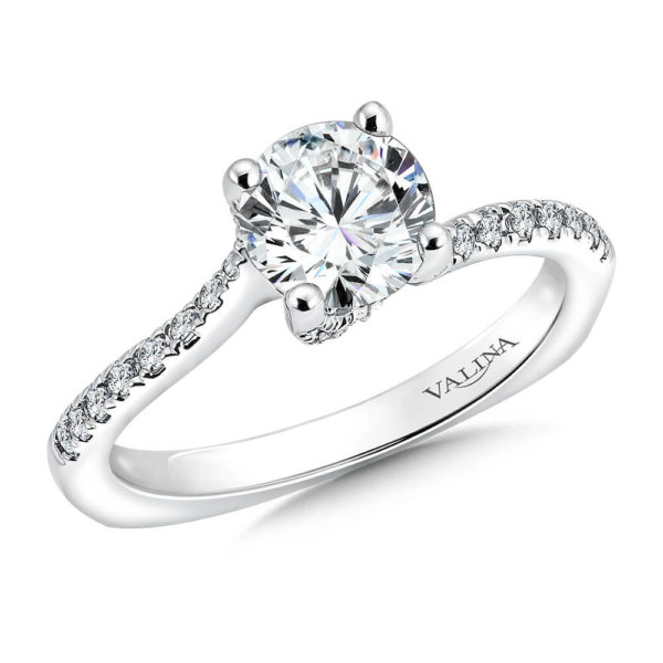 14K White Gold 0.25ct Diamond Engagement Ring 1.00ct center