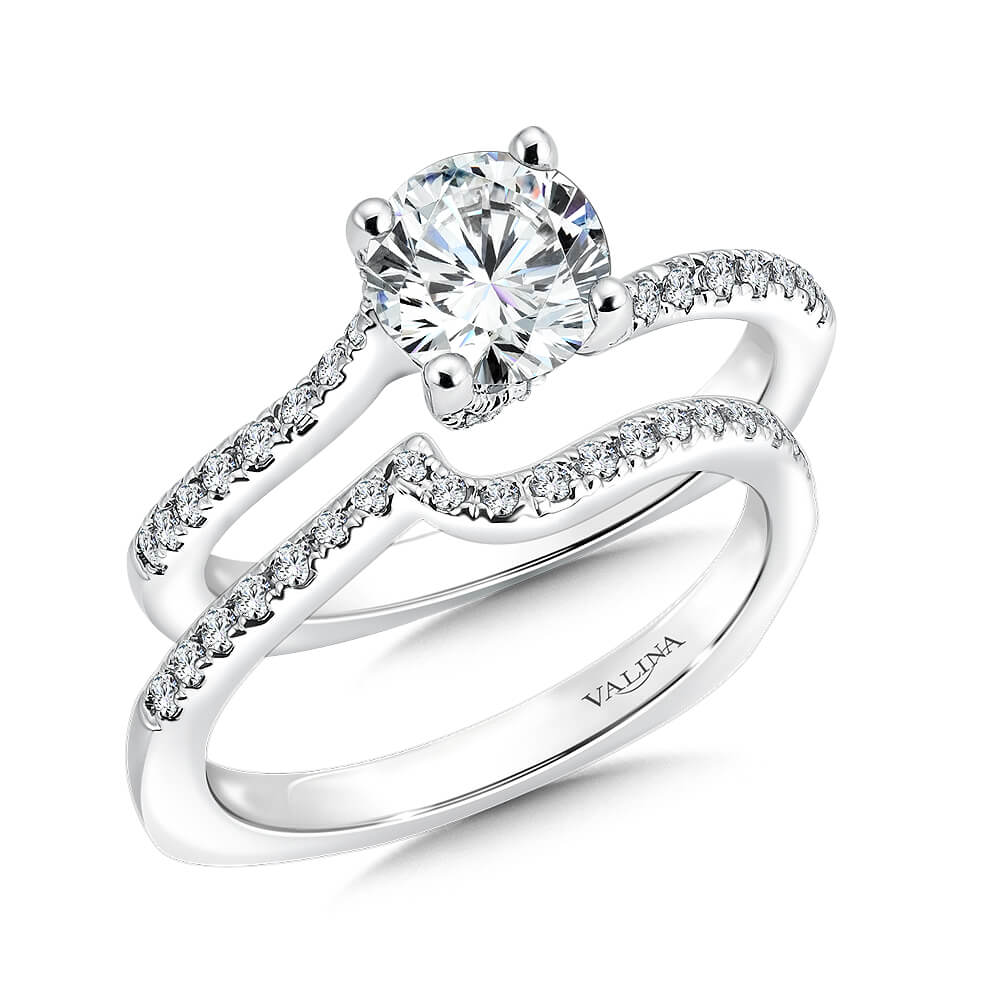 14K White Gold 0.41ct Diamond Bridal Set 1.00ct center