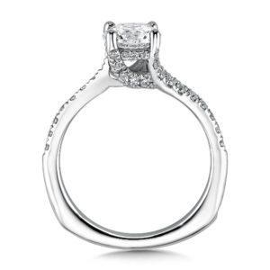 14K White Gold 0.25ct Diamond Engagement Ring 1.00ct center