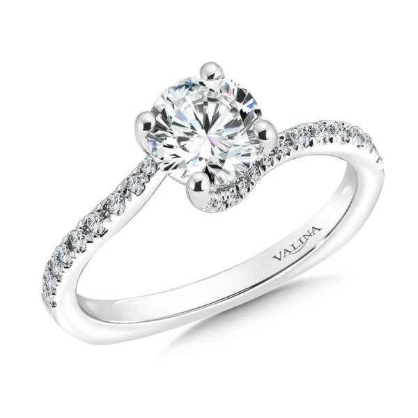 14K White Gold 0.22ct Diamond Engagement Ring 1.00ct center