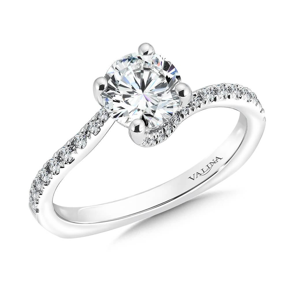 14K White Gold 0.22ct Diamond Engagement Ring 1.00ct center