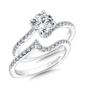 14K White Gold 0.42ct Diamond Bridal Set 1.00ct center