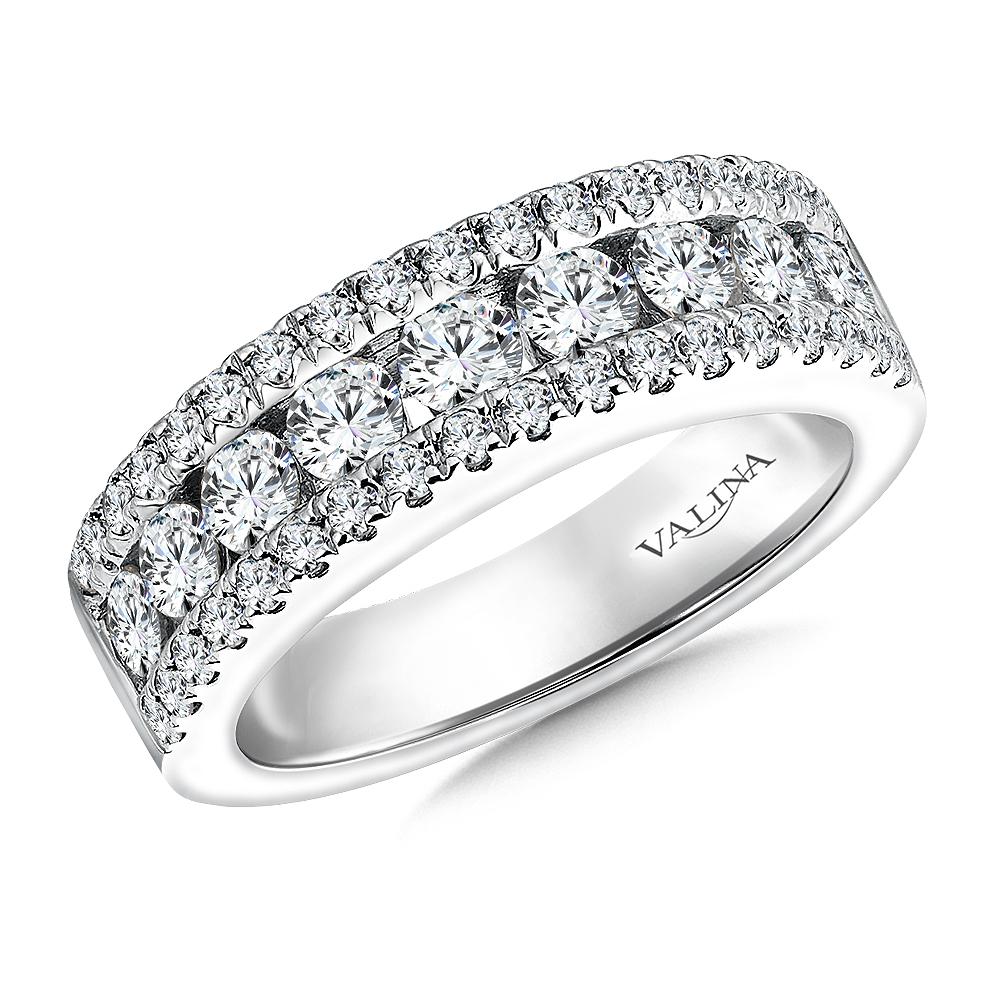 14K White Gold 1.44ct Diamond Wedding Band - Anniversary Band