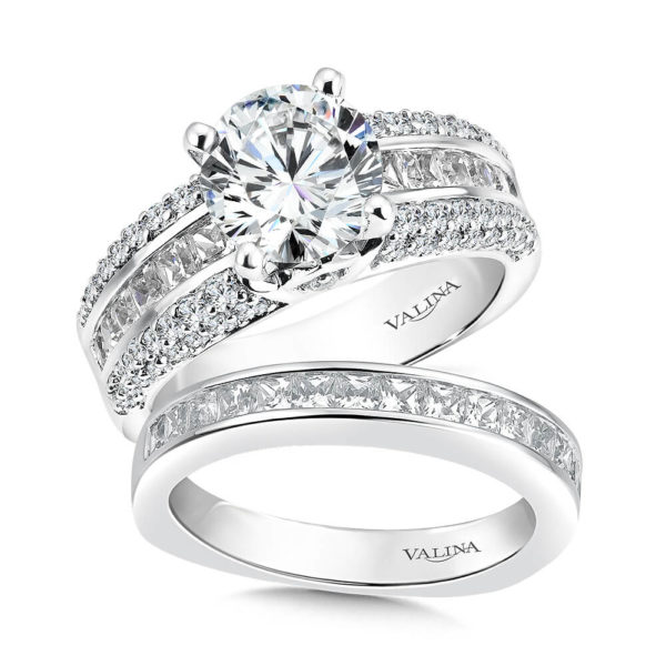 14K White Gold 1.24ct Diamond Bridal Set 2.00ct center