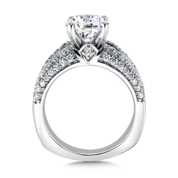 14K White Gold 1.16ct Diamond Engagement Ring 2.00ct center