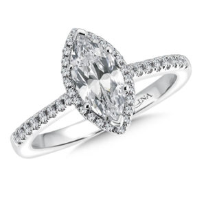 14K White Gold 0.20ct Diamond Engagement Ring 1.00ct Marquis center
