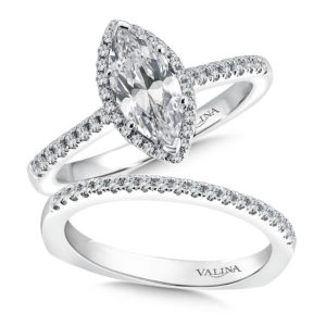 14K White Gold 0.34ct Diamond Bridal Set 1.00ct Marquis center