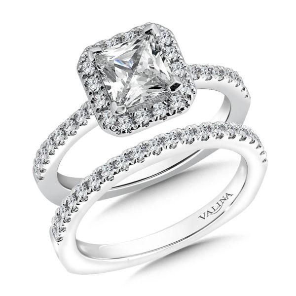 14K White Gold 0.57ct Diamond Bridal Set 1.25ct Princess center
