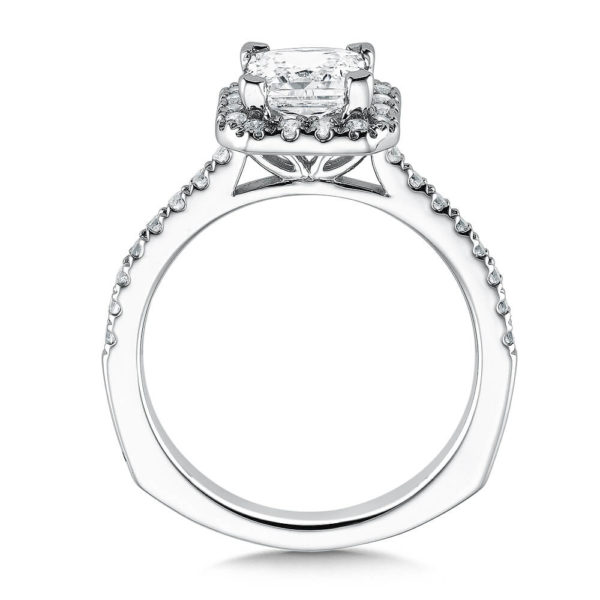 14K White Gold 0.35ct Diamond Engagement Ring 1.25ct Princess center