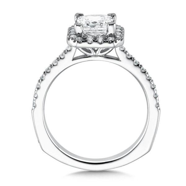14K White Gold 0.35ct Diamond Engagement Ring 1.25ct Princess center