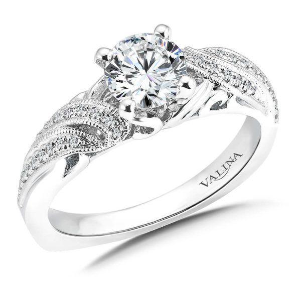 14K White Gold 0.13ct Diamond Engagement Ring 0.75ct center