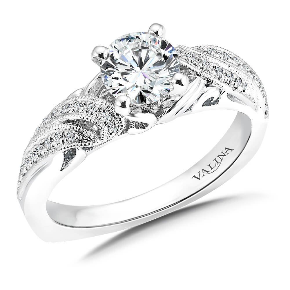 14K White Gold 0.13ct Diamond Engagement Ring 0.75ct center