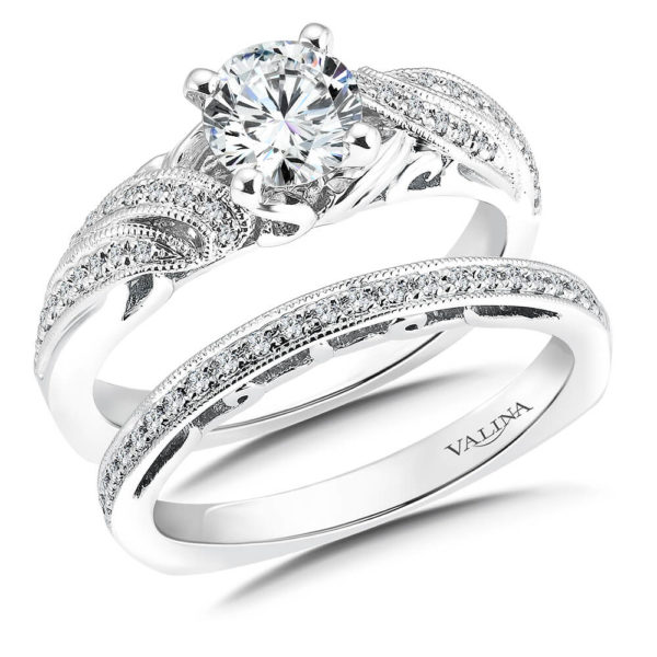 14K White Gold 0.24ct Diamond Bridal Set 0.75ct center