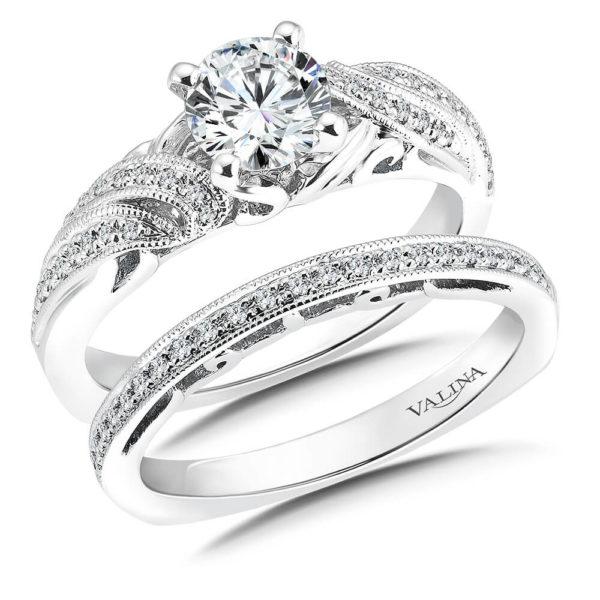 14K White Gold 0.24ct Diamond Bridal Set 0.75ct center