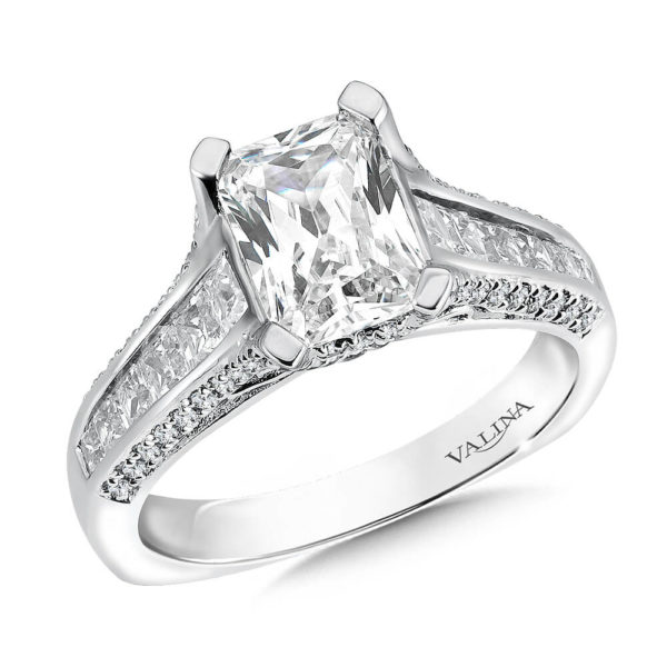14K White Gold 0.96ct Diamond Engagement Ring 1.50ct Emerald cut center