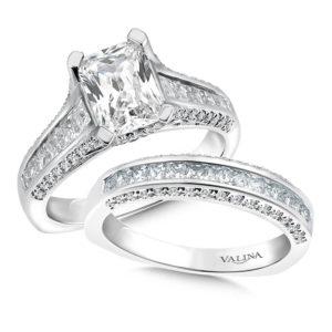 14K White Gold 1.67ct Diamond Bridal Set 1.50ct Emerald cut center