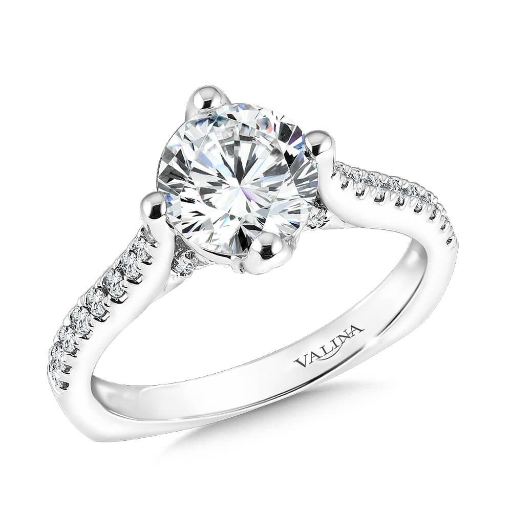 14K White Gold 0.28ct Diamond Engagement Ring 0.50ct center