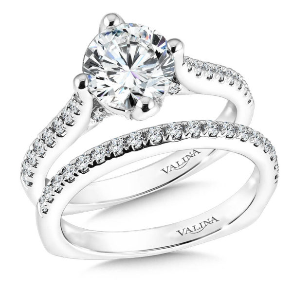 14K White Gold 0.48ct Diamond Bridal Set 0.50ct center