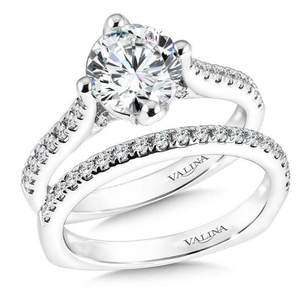 14K White Gold 0.48ct Diamond Bridal Set 0.50ct center