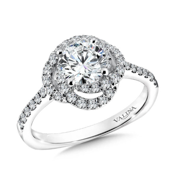 14K White Gold 0.37ct Diamond Engagement Ring 1.00ct center