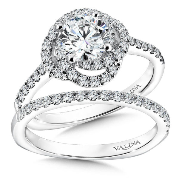 14K White Gold 0.53ct Diamond Bridal Set 1.00ct center