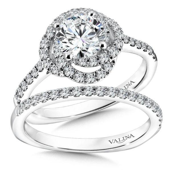 14K White Gold 0.53ct Diamond Bridal Set 1.00ct center