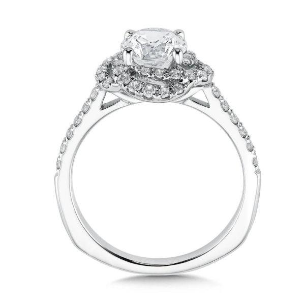 14K White Gold 0.37ct Diamond Engagement Ring 1.00ct center