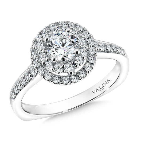 14K White Gold 0.44ct Diamond Engagement Ring 0.625ct center