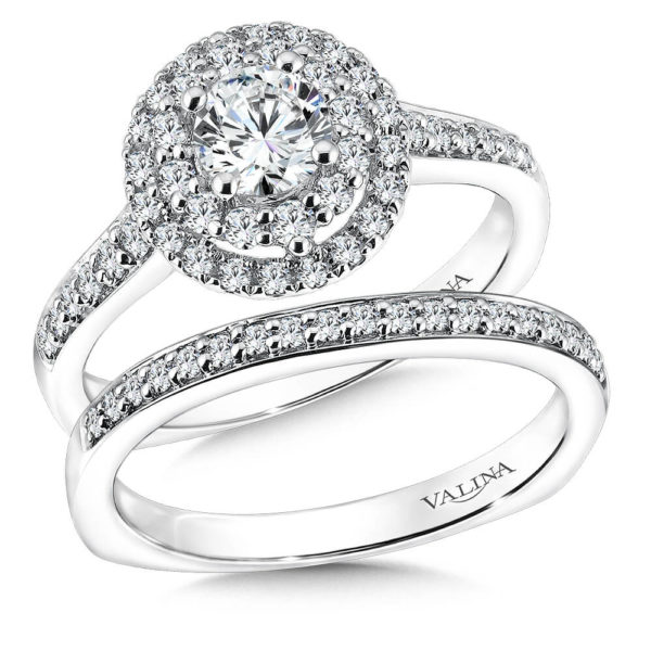 14K White Gold 0.65ct Diamond Bridal Set 0.625ct center