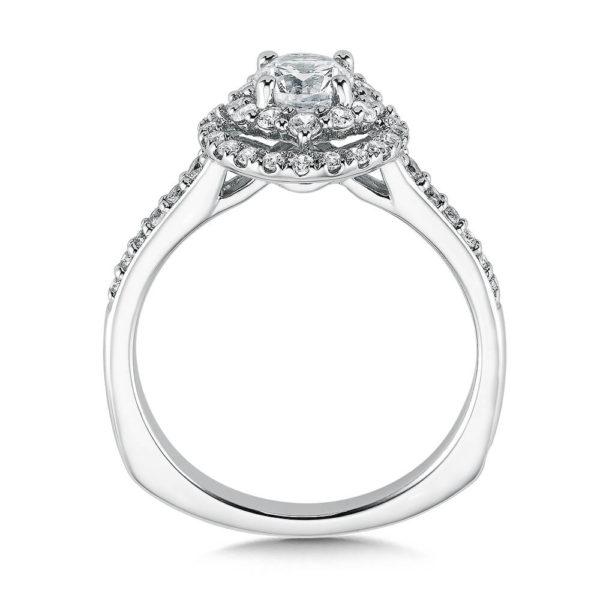 14K White Gold 0.44ct Diamond Engagement Ring 0.625ct center