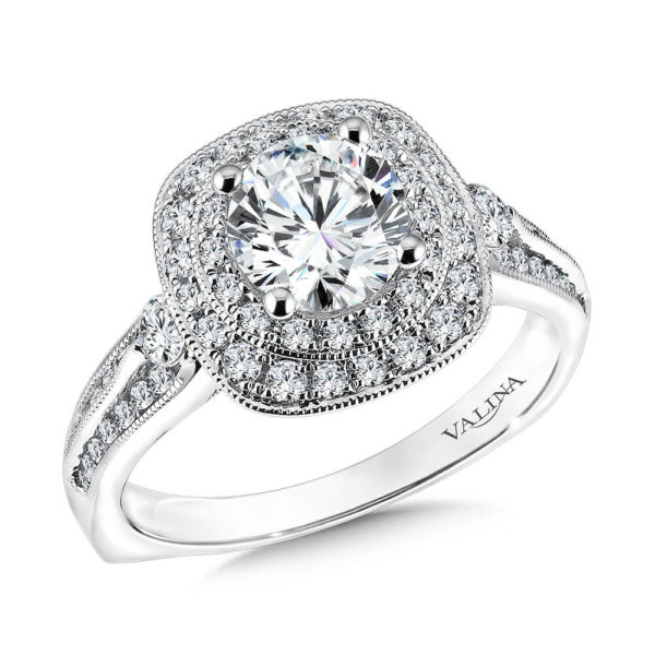 14K White Gold 0.64ct Diamond Engagement Ring 1.00ct center