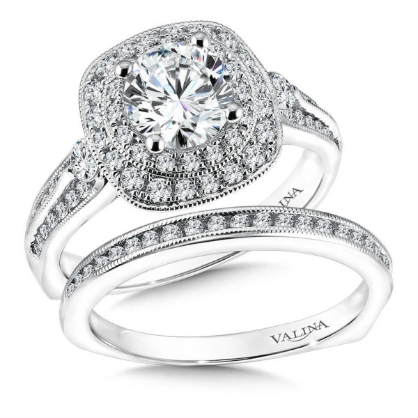 14K White Gold 0.79ct Diamond Bridal Set 1.00ct center