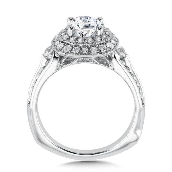 14K White Gold 0.64ct Diamond Engagement Ring 1.00ct center
