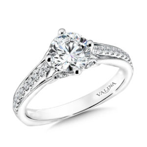 14K White Gold 0.17ct Diamond Engagement Ring 1.00ct center