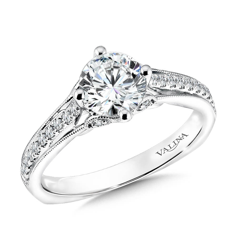 14K White Gold 0.17ct Diamond Engagement Ring 1.00ct center
