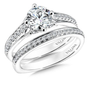 14K White Gold 0.31ct Diamond Bridal Set 1.00ct center