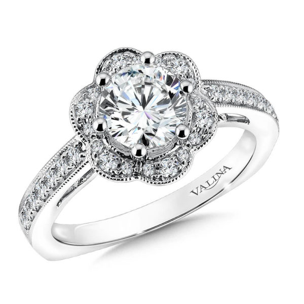 14K White Gold 0.28ct Diamond Engagement Ring 1.00ct center