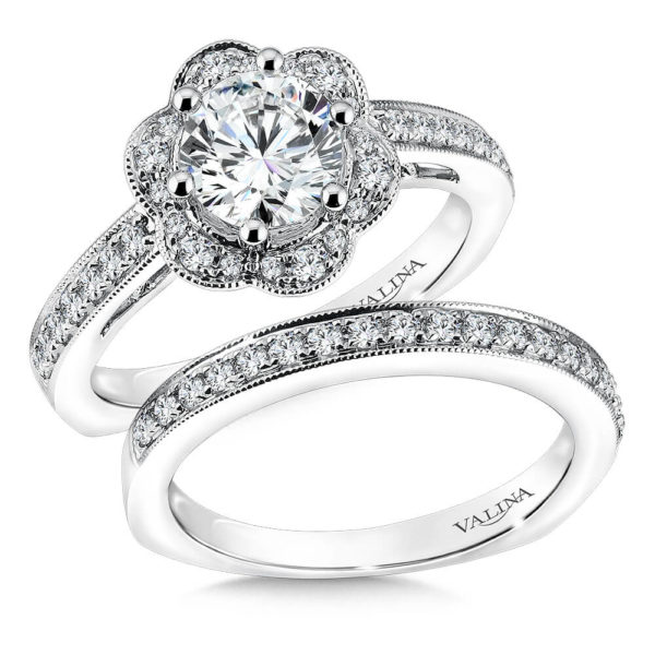 14K White Gold 0.47ct Diamond Bridal Set 1.00ct center