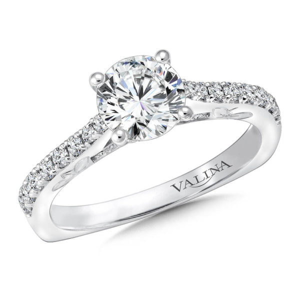 14K White Gold 0.27ct Diamond Engagement Ring 1.00v
