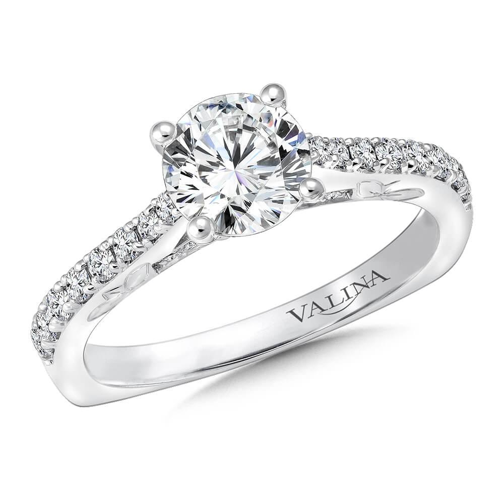 14K White Gold 0.27ct Diamond Engagement Ring 1.00v