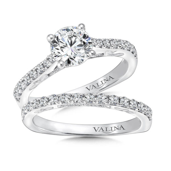 14K White Gold 0.57ct Diamond Bridal Set 1.00ct center