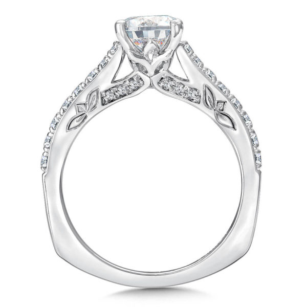 14K White Gold 0.27ct Diamond Engagement Ring 1.00ct center