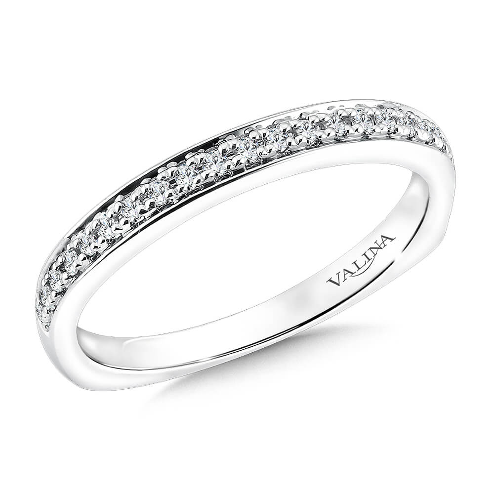 14K White Gold 0.12ct Diamond Wedding Band