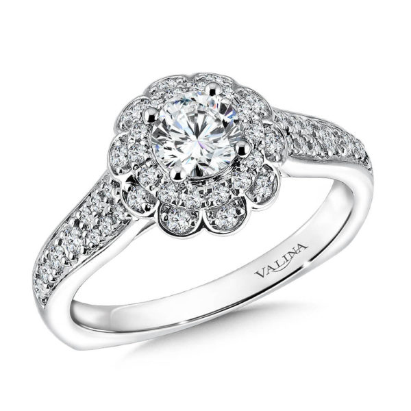 14K White Gold 0.35ct Diamond Engagement Ring 0.50ct center
