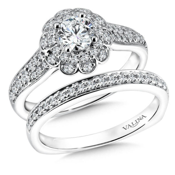 14K White Gold 0.47ct Diamond Bridal Set 0.50ct center