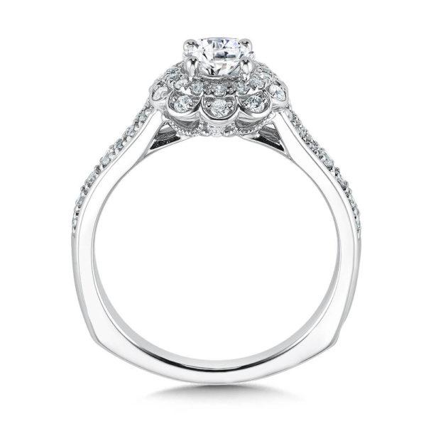 14K White Gold 0.35ct Diamond Engagement Ring 0.50ct center