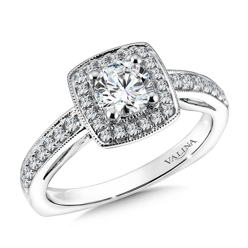 14K White Gold 0.29ct Diamond Engagement Ring 0.625ct center