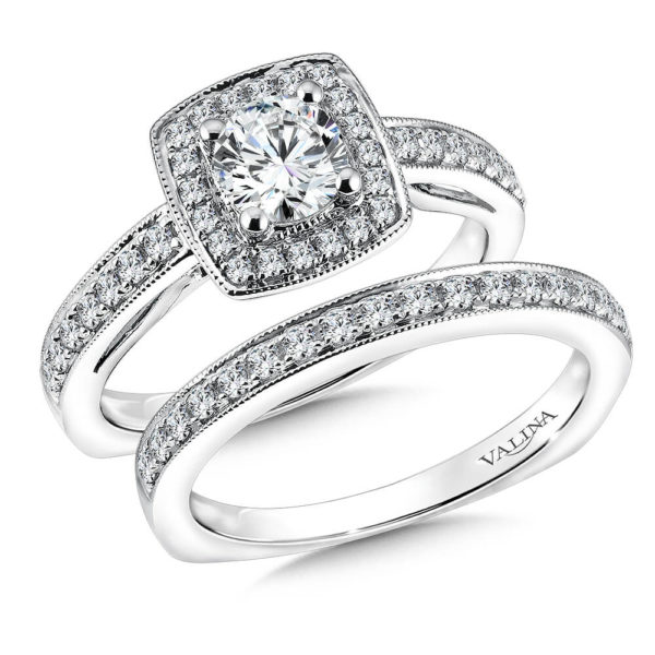 14K White Gold 0.48ct Diamond Bridal Set 0.625ct center