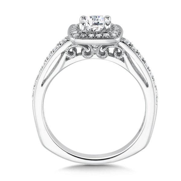 14K White Gold 0.29ct Diamond Engagement Ring 0.625ct center